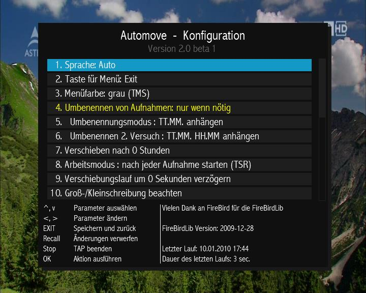 Automove screenshot config 1